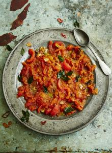 Keralan tomato salad with curry leaves