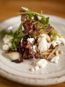Warm winter salad of radicchio with wild rocket and feta