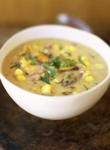 Sweetcorn and mussel chowder