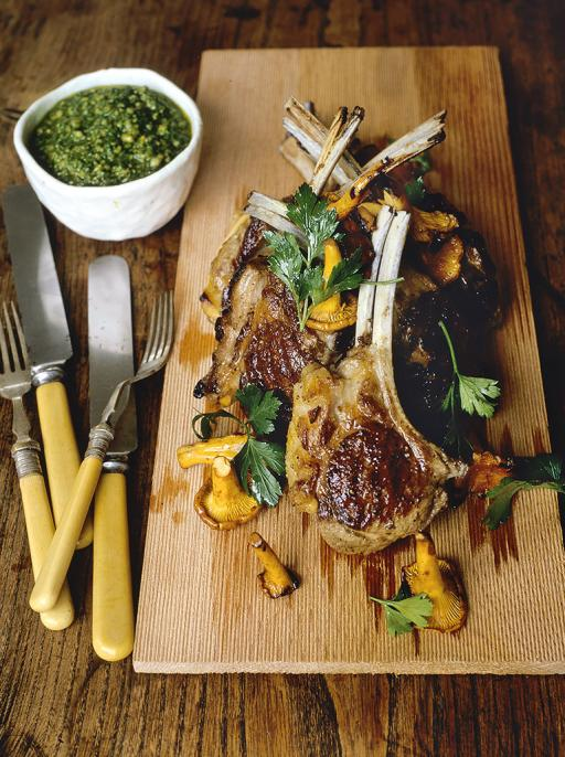 lamb cutlets with basil sauce