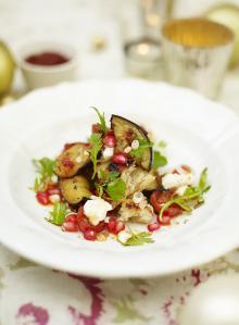 Warm aubergine, pomegranate and harissa salad