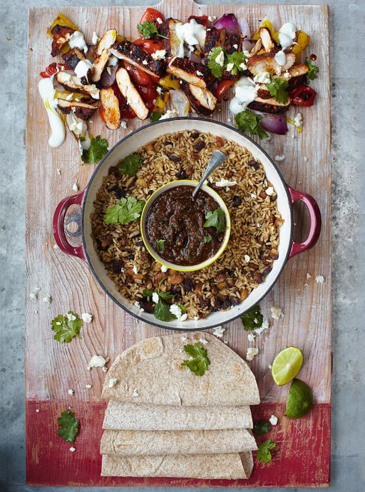 Sizzling Chicken Fajitas  Grilled Peppers, Salsa, Rice & Beans