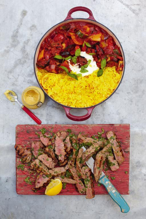Steak Ratatouille And Saffron Rice