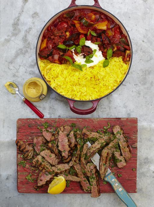 Steak Ratatouille And Saffron Rice