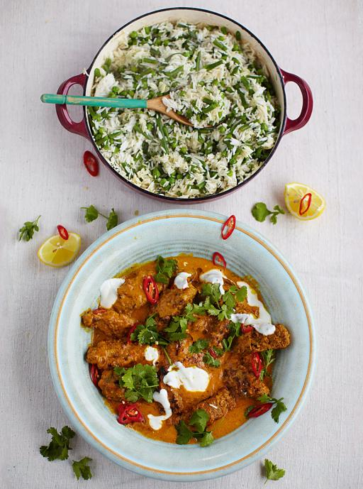 Beef Kofta Curry With Fluffy Rice, Beans and Peas
