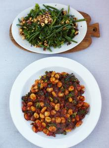 Sausage gnocchi with warm kale & bean salad