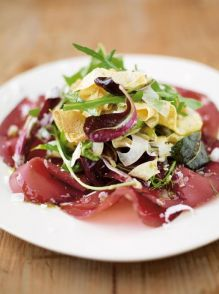Delicate egg ribbons with bresaola, crispy fennel & spring leaves