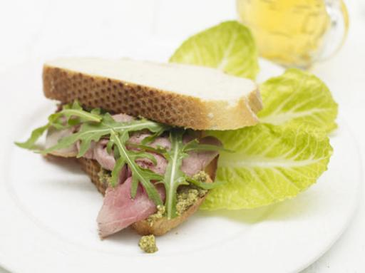 beef and pesto sandwich