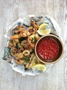 Crispy squid & prawns with homemade sweet chilli sauce