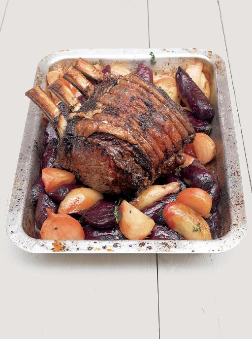 Roast Fore rib of Beef With Garlic Rosemary