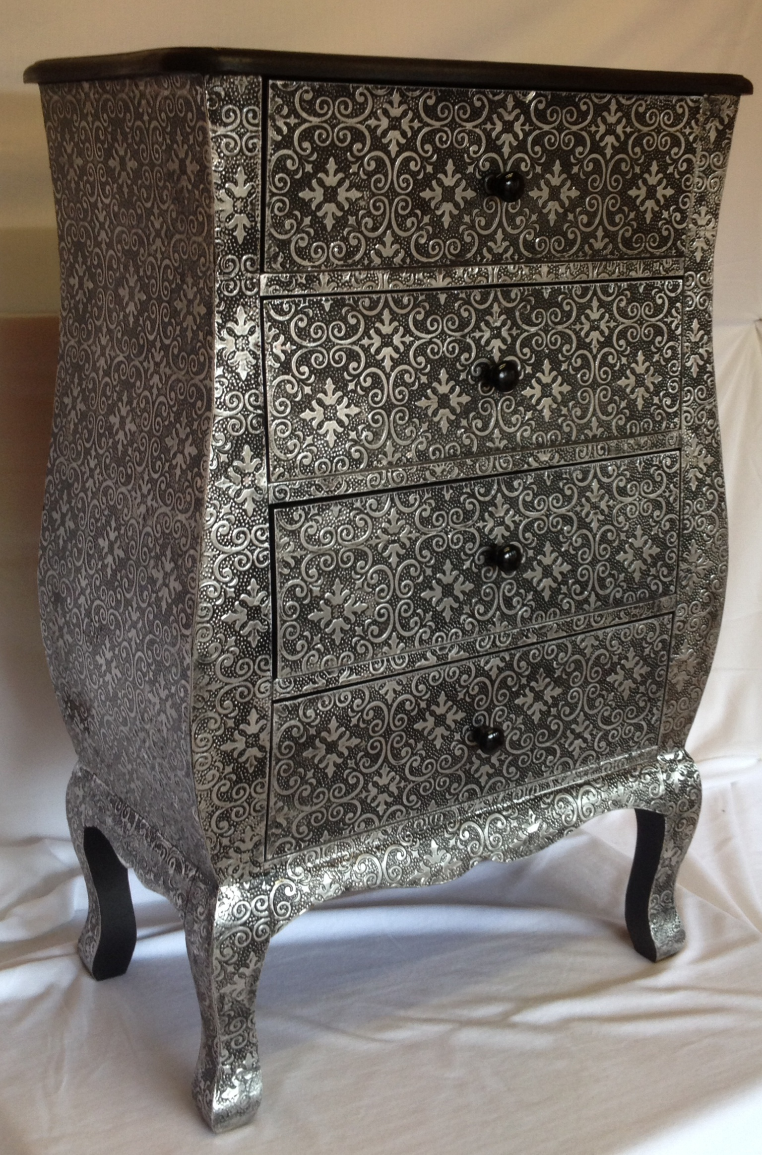 Silver Embossed 4 Drawer Chest Greens Home And Garden