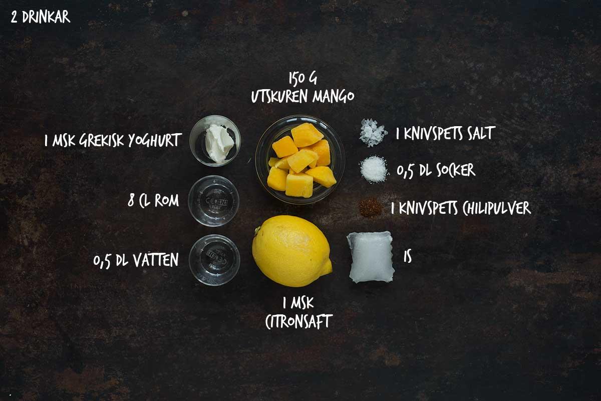 Recept: Frozen mango lassi med rom I Frk. Kräsen