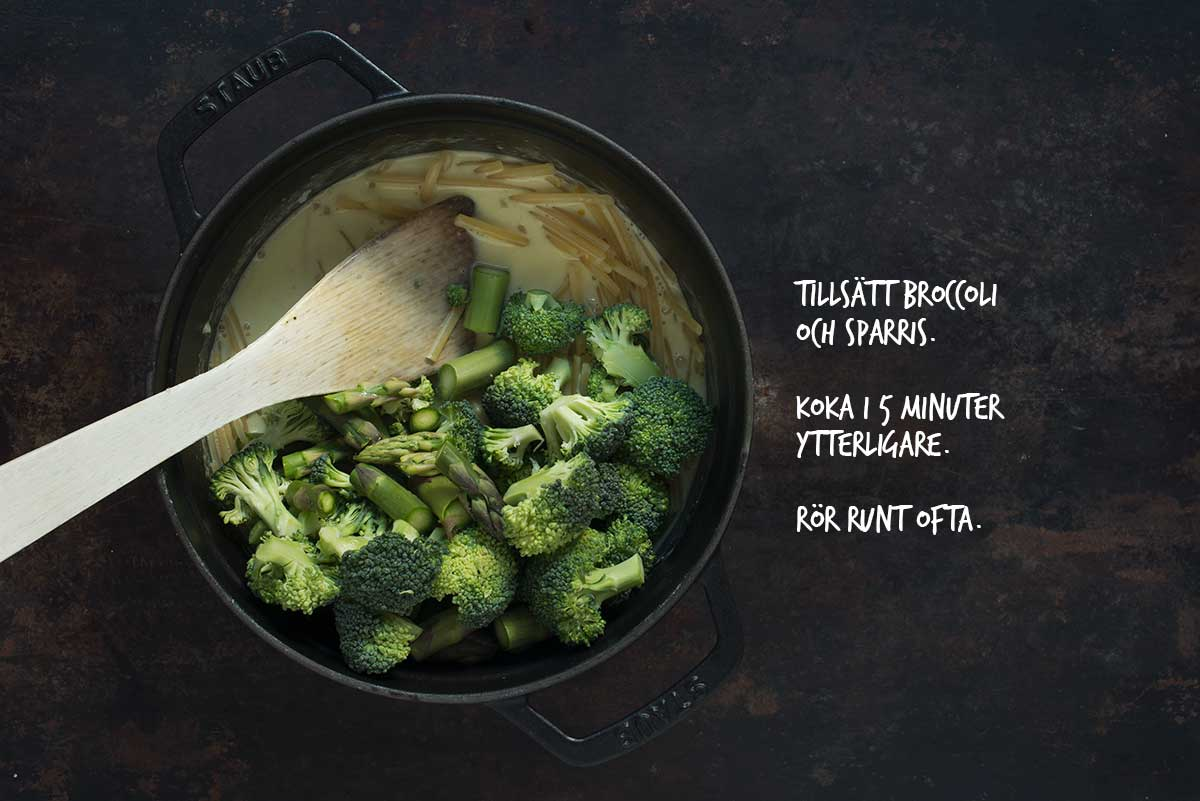 Recept: Vegetarisk one-pot-pasta med broccoli och sparris | Frk. Kräsen