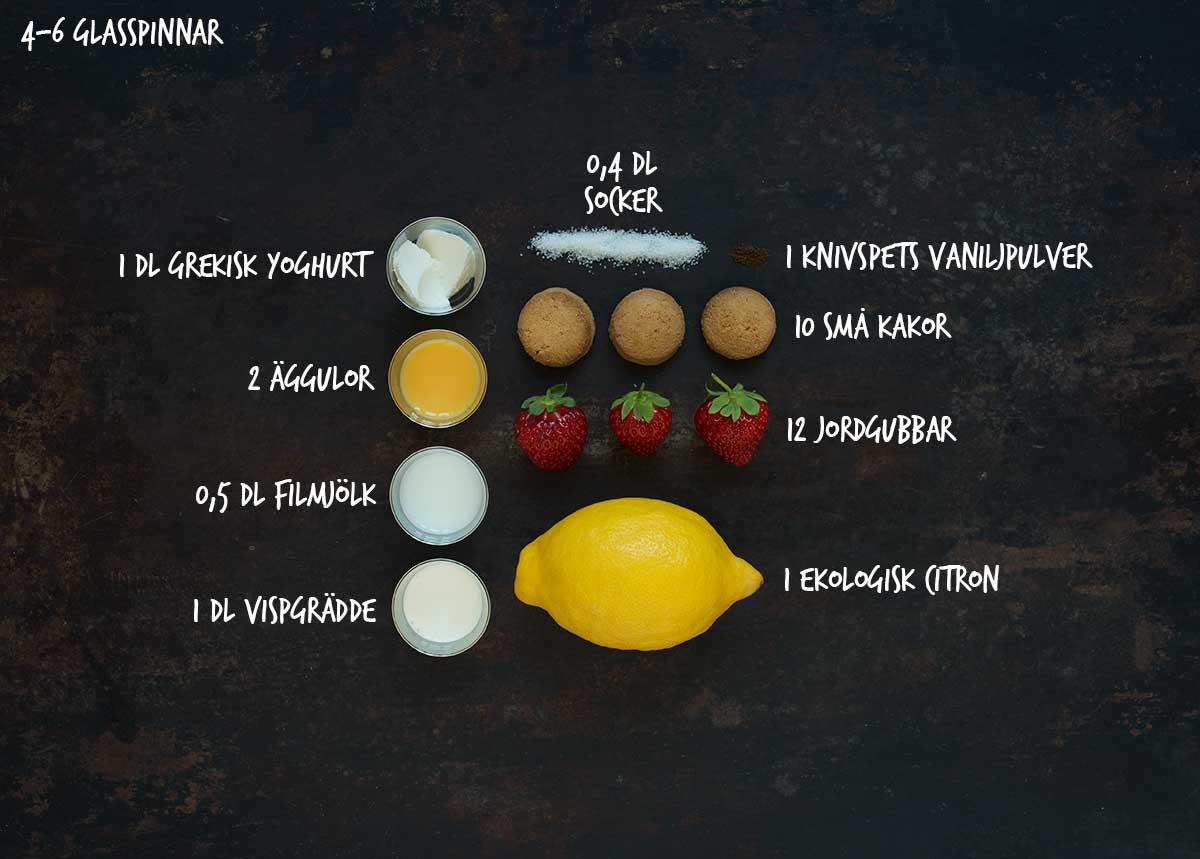 Recept: Glasspinnar med jordgubbar och kaksmulor