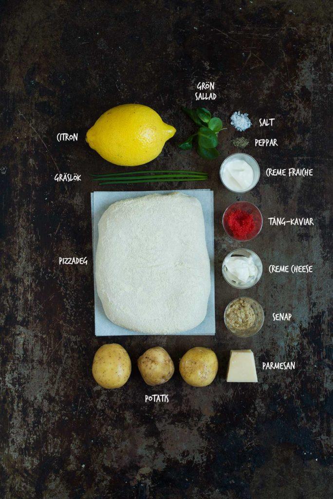 Recept: Pizza med potatis, creme fraiche og tångkaviar | Frk. Kräsen