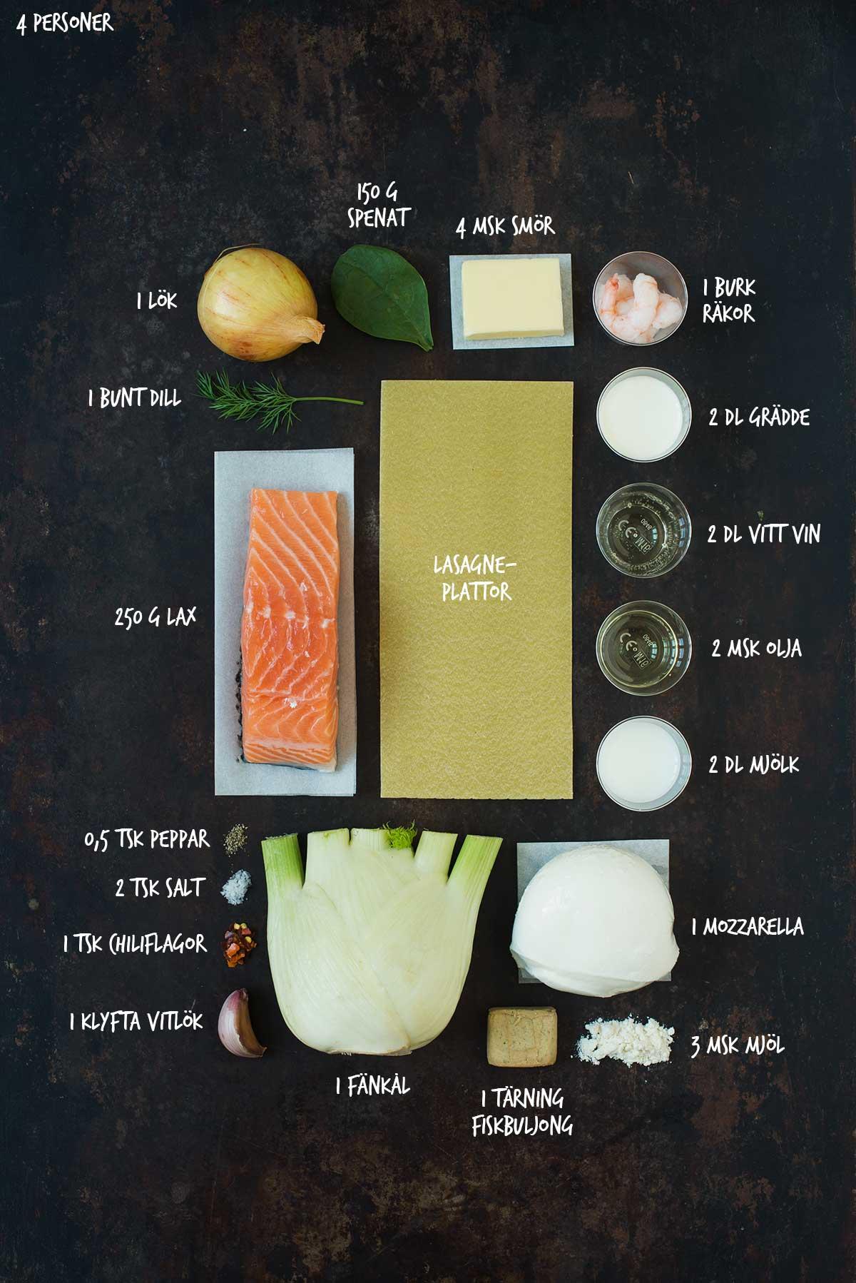Recept: Lasagne med lax och räkor | Frk. Kräsen