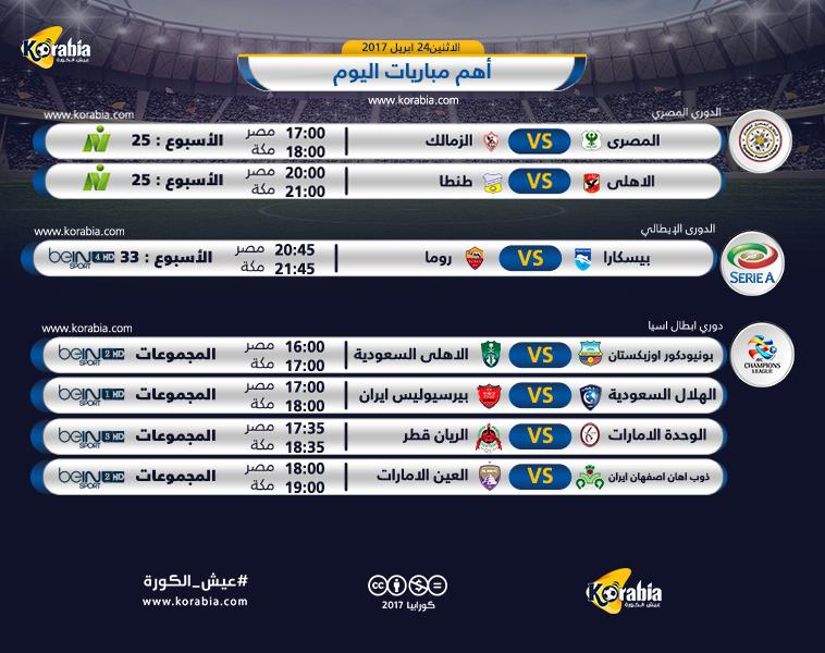 المصري يواجه الزمالك والأهلي أمام طنطا في أبرز مباريات اليوم