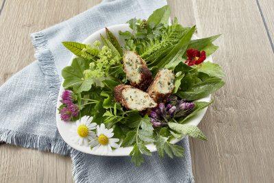 Beinwellröllchen mit Ziegenkäse auf Blatt-und Wildkräutersalat