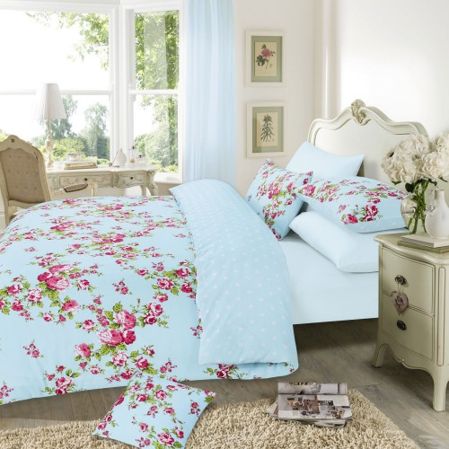 bettw sche set mara mit blumen muster ebay. Black Bedroom Furniture Sets. Home Design Ideas