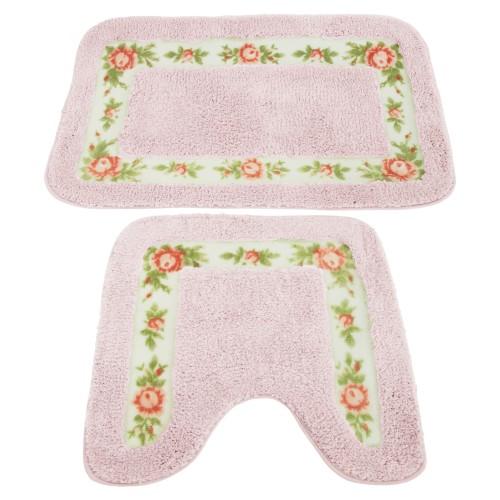 ensemble de tapis de bain et contour de wc motif floral ebay. Black Bedroom Furniture Sets. Home Design Ideas