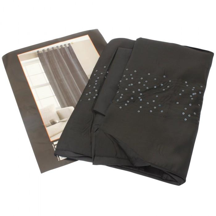 taft vorhang mit pailletten und schlaufen zum aufh ngen ebay. Black Bedroom Furniture Sets. Home Design Ideas