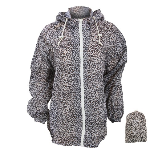 Womens Ladies Hooded Patterned Showerproof Packaway Rain Jacket
