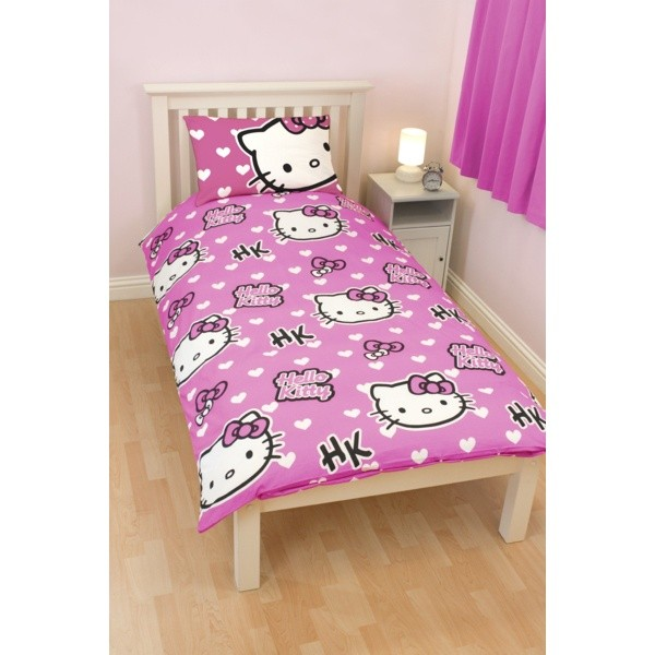 hello kitty parure de lit simple fille ebay. Black Bedroom Furniture Sets. Home Design Ideas