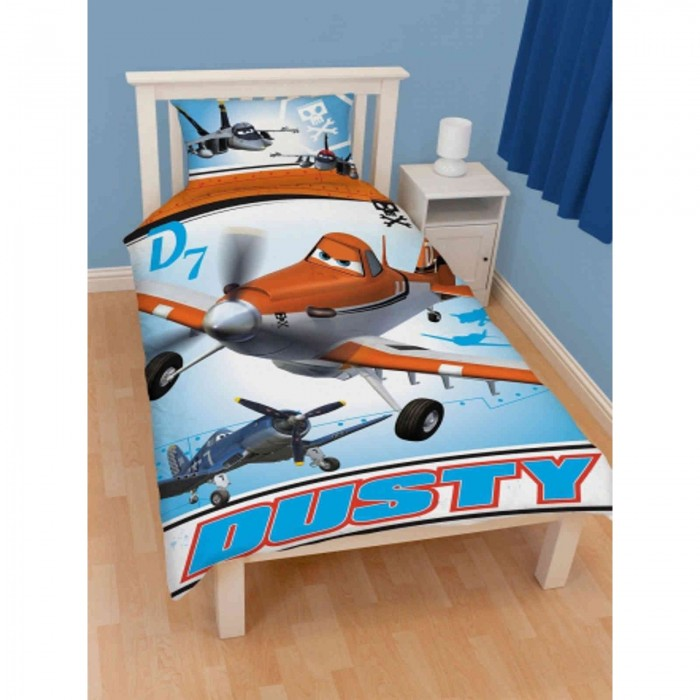disney parure de lit simple r versible avions enfant ebay. Black Bedroom Furniture Sets. Home Design Ideas