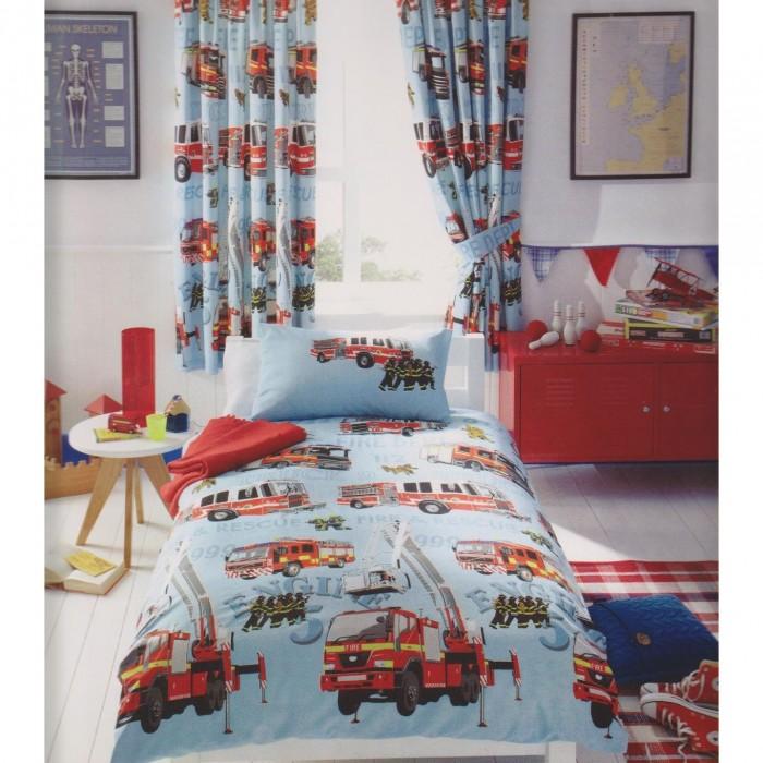 kids club jungen bettw sche mit feuerwehr motiv ebay. Black Bedroom Furniture Sets. Home Design Ideas