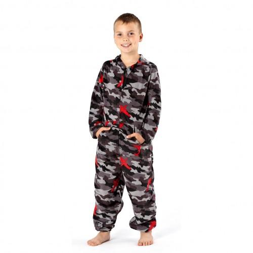 kinder jungen fleece hausanzug fleece onesie mit kapuze tarnmuster ebay. Black Bedroom Furniture Sets. Home Design Ideas