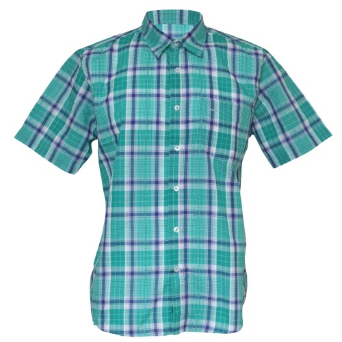 Mens fashion checked pattern short sleeve casual summer for Custom pattern button down shirts