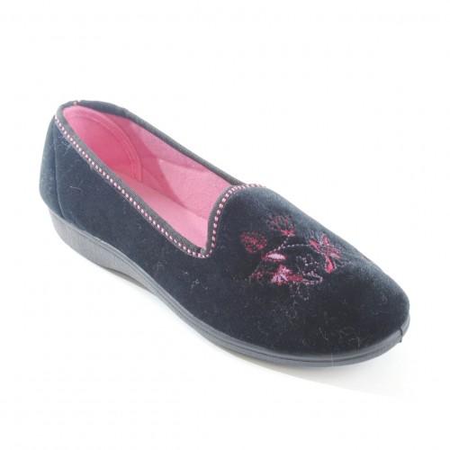 Womens/Ladies Embroidered Floral Indoor Footwear Slip-on ...
