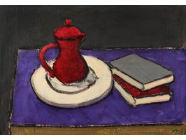 Tea Pot and Books on Purple Background (Ceainic și Cărți pe Fond Mov)