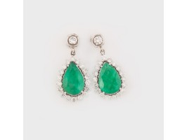 Pair of White Gold Earrings, decorated with Emeralds framed by Diamonds