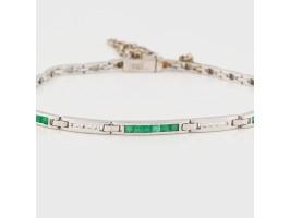 White Gold Bracelet embellished with Emeralds and Diamonds