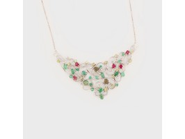 Elegant Necklace with Pendant embellished with Opals, Emeralds, Garnets and Peridot stones