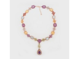 Imposing Necklace embellished with Topazes, Amethyst, Citrine and Peridot Stones