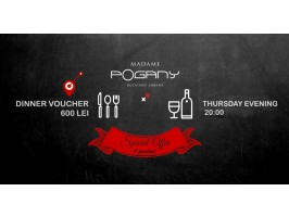 Dinner for 4 persons at the Madame Pogany Restaurant