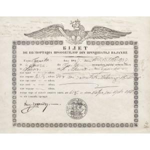 Certificat pentru exportul produselor din Principatul Valahiei, 1847