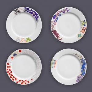 Four hand-painted Porphyras decorative plates, from the Byzantine Collection
