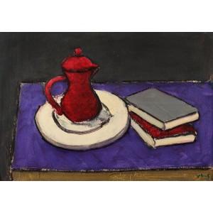 Tea Pot and Books on Purple Background (Ceainic și Cărți pe Fond Mov)