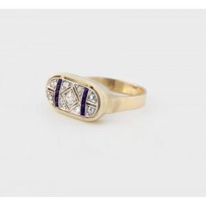 Art Deco style Gold Ring decorated with Diamonds and Sapphires