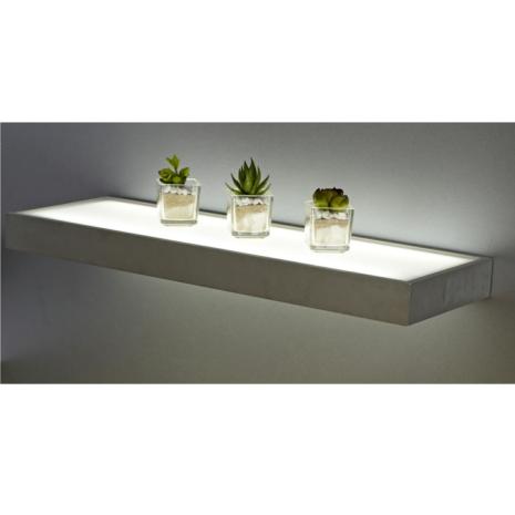 sirius 600mm floating box led lighting glass shelves. Black Bedroom Furniture Sets. Home Design Ideas
