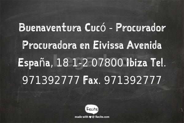 Buenaventura Cucó - Procurador Procuradora en Eivissa - Abogados Portaley