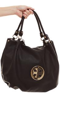 8901 sort taske med stor guld detalje