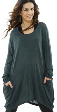 Bottelgreen lang%c3%a6rme bluse med struktur