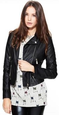 Sort skind jakke med lynl%c3%a5se