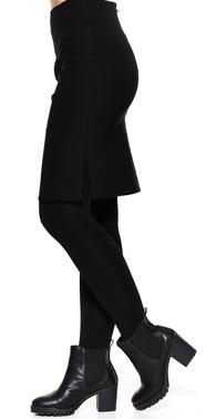 Sort stram nederdel med slids i siden