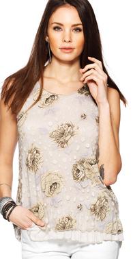 Sand bluse med prikker og blomster