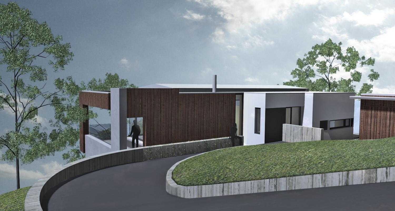 SEV22 -illustrasjon sett fra nedkjørsel mot eiendommen